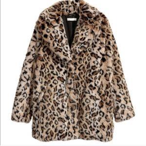 NWOT H&M Faux Fur Leopard Print Coat